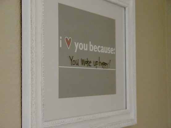 """Frame this FREE """"I Love You Because"""" printable and frame it for the perfect in-a-pinch gift. Use a dry eraser marker to update any time. So sweet!"""