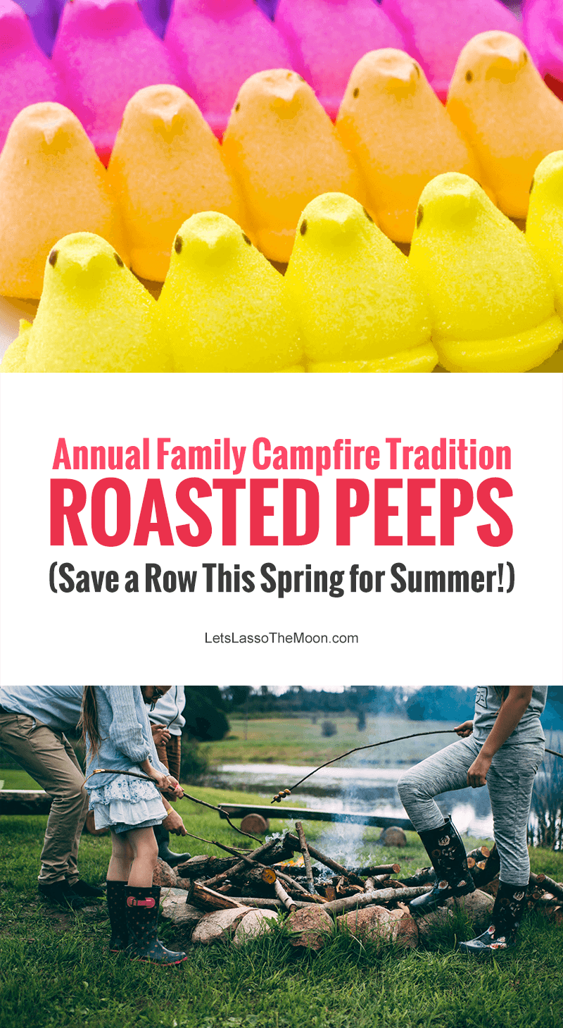 Don't munch down all those marshmallow Easter Peeps this spring — Stale Peeps make a tasty roasted treat around a summer campfire! #peeps #camping *We are so trying this!