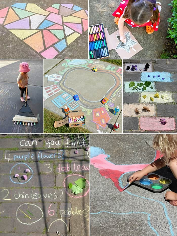 A collage of chalk art ideas for kids including a mosaic chalk heart, stencils, games, and more.