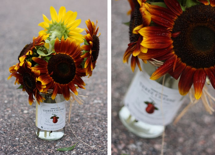 Sunflowers in Trader Joe Vases   Let's Lasso the Moon