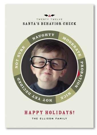 Santa's Behavior Check Holiday Photo Card by Chocomocacino