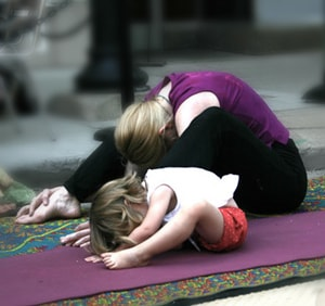 {How-to Enjoy Kid-Free Yoga} Great tip that allows you a full adult yoga session, but ensures your kiddo is happy too...