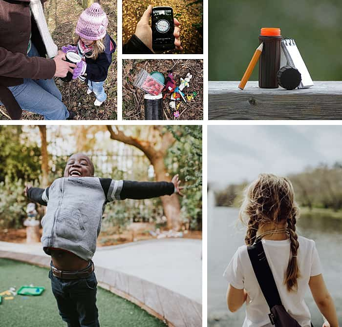 Collection of photos of kids geocaching.
