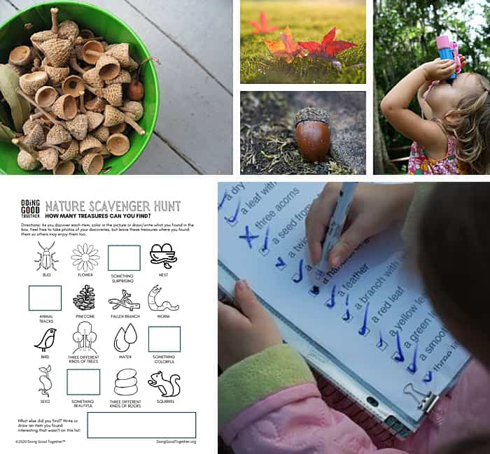 A collage of acorns, leaves, and children outside doing one of our favorite outdoor fall activities for kids — going on scavenger hunt