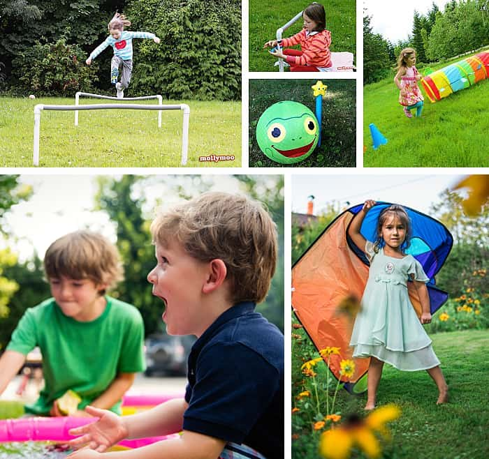 Collage of photos of children doing backyard obstacle courses.