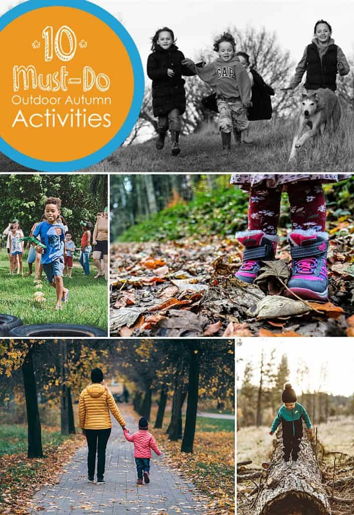 "A collage of different photos of children playing outside with the text headline, ""10 Must-Do Outdoor Fall Activities for Kids"""