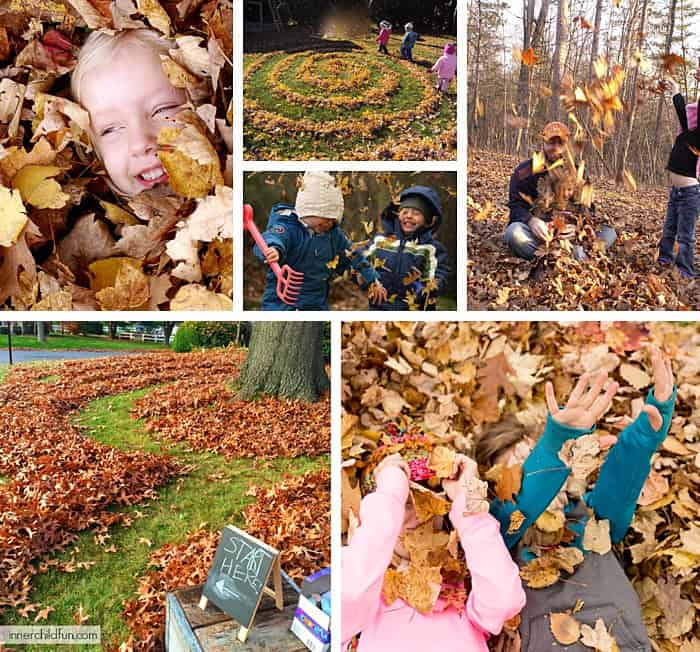 Collage of kids outside in the yard walking through a maze of leaves.
