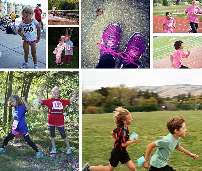 A collage of kids participating in races with their families.