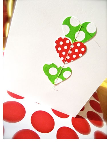 {Handmade Holiday Card} Sew on paper hearts *So simple. So cute.