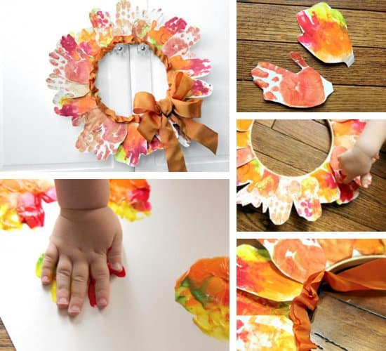 Leaf Hand-print Wreath by Melissa Klinker of Mama Miss