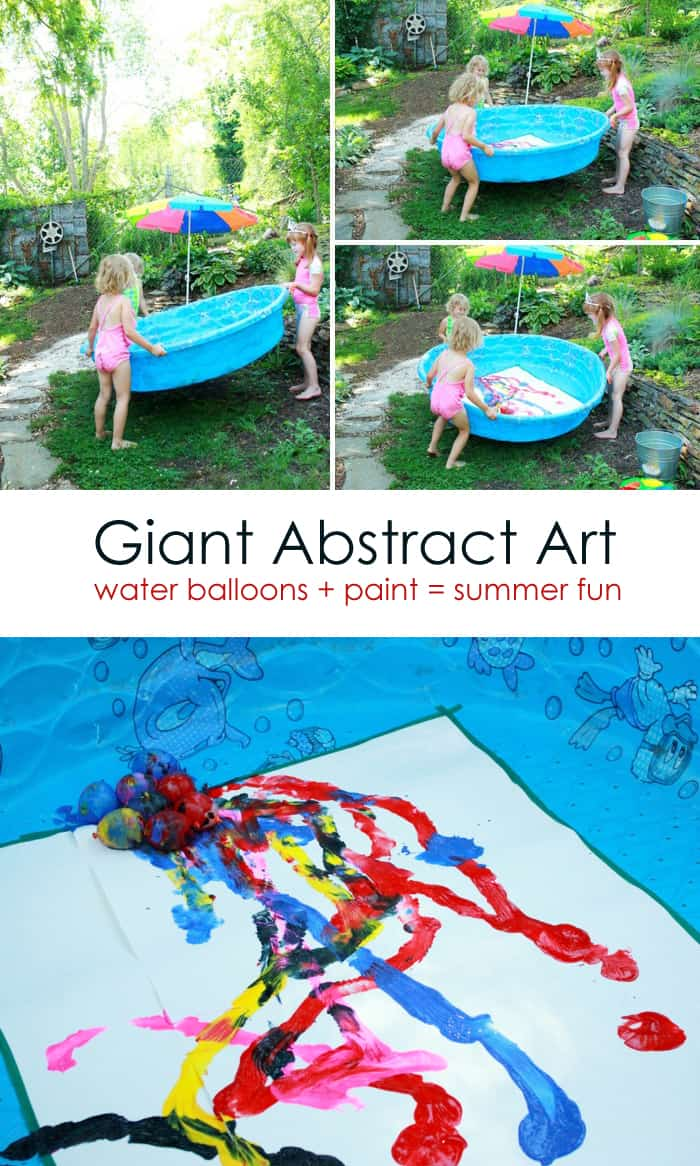 Giant Abstract Art: Gross Motor Painting for Kids *Love this water balloon painting project. Adding this to my family summer bucket list.