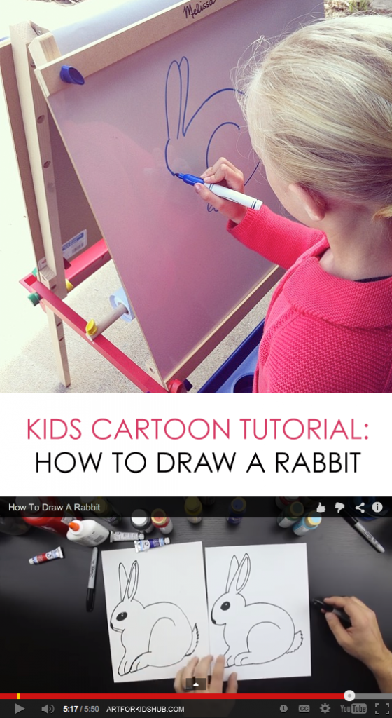 How to Draw a Cartoon Bunny Rabbit *Simple video tutorial for kids + printable