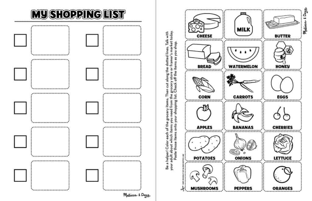 FREE PRINTABLE: Healthy-Eating Coloring Shopping List for Kids