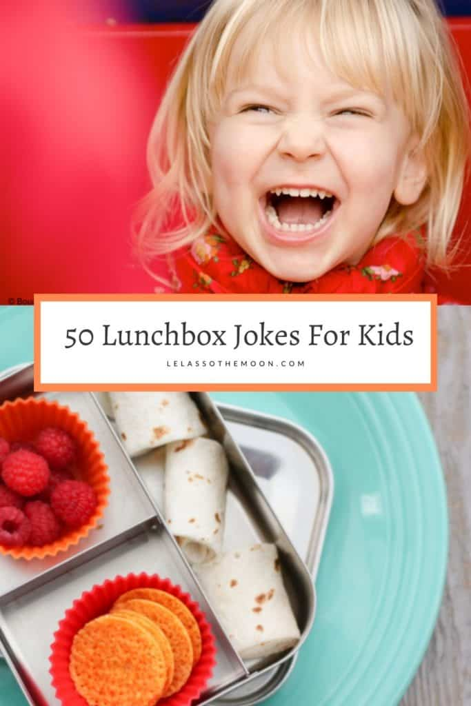 """Photo of a little girl giggling and a school lunch with the text, """"Over 50 Lunchbox Jokes for Kids."""""""