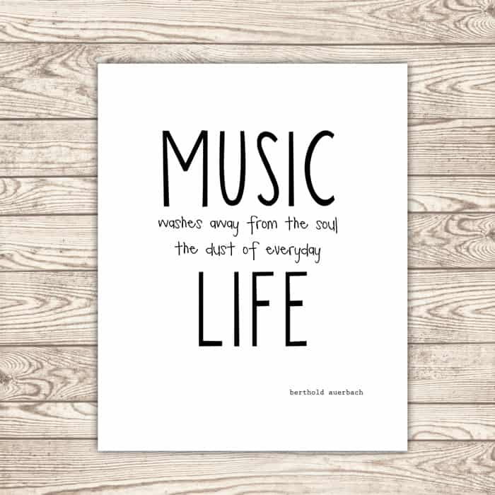 Music washes away from the soul the dust of everyday life. — Berthold Auerbach #printable #etsy *love this quote