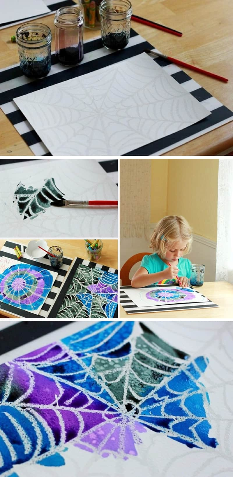 Spider Web Art Project for Children with Watercolor Resist *Great Halloween idea for kids