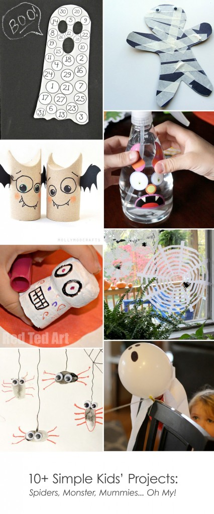 10+ Simple Kids' Projects: Spiders, Monster, Mummies... Oh My! #Halloween #Crafts *Saving this for later...
