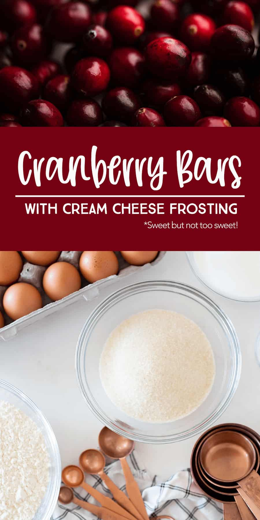 Ingredients to make Cranberry Bars with cream cheese frosting