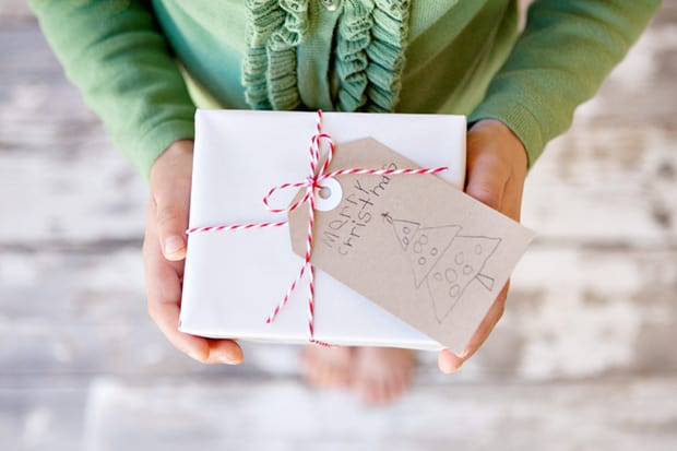 Make Simple Christmas Gift Tags from Children's Art