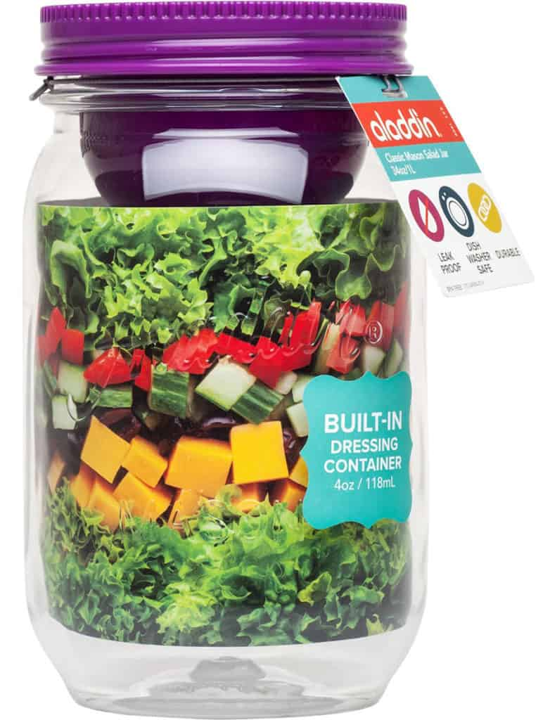 "30 Mason Jar Recipes: A Month Worth of ""Salad in a Jar"" Recipes *Loving this mason jar with built-in dressing container."
