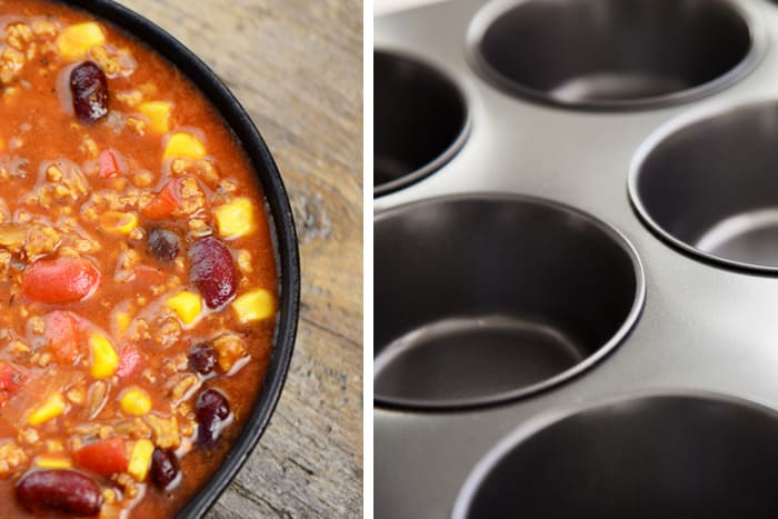 Single Serving Chili: Freeze leftovers in muffin tin and defrost later for single-serving lunch *Or defrost a few at a time for a small family dinner!