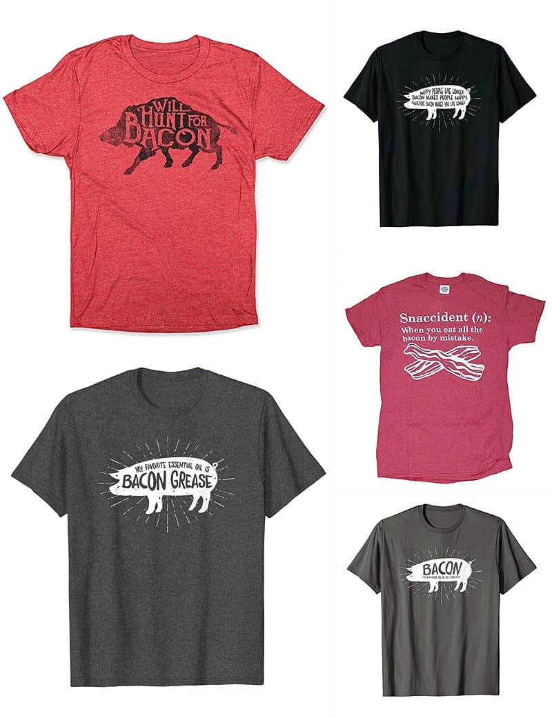 Bacon lovers unite! Show off your love of bacon with these funny shirts. #bacon #baconlover #gift *This is the perfect birthday or Father's Day gift for Dad