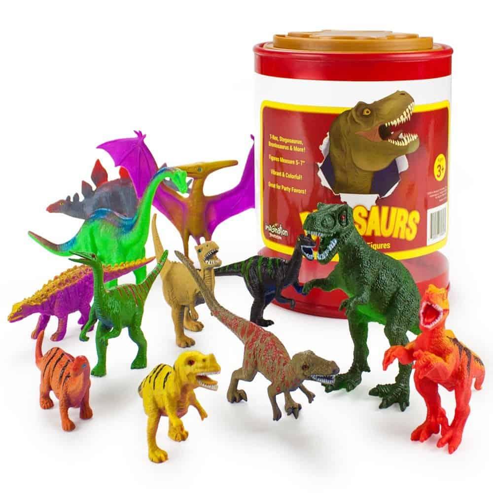 "Set of 12 Large 7"" Dinosaur Assortment with Plastic Storage Drum by Imagination Generation"