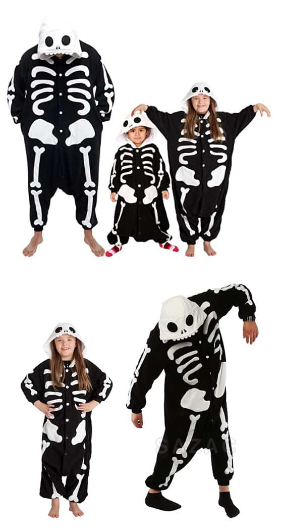 Children's Halloween costumes that your kids can wear coats under for cold weather trick-or-treating *Love this family skeleton costume