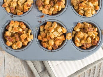 Holiday Sausage Stuffing Muffins Recipe: Perfect for everyday dinner or a special treat for the kids for Thanksgiving *Love that the batch is large enough to make an additional side of traditional stuffing too. So trying this...