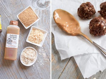 These no-bake snack bites are the perfect punch of protein. This cocoa-peanutbutter energy ball recipe tastes like a healthy Resse's peanut butter cup. The kids love em! *So trying these. Perfect for after school.