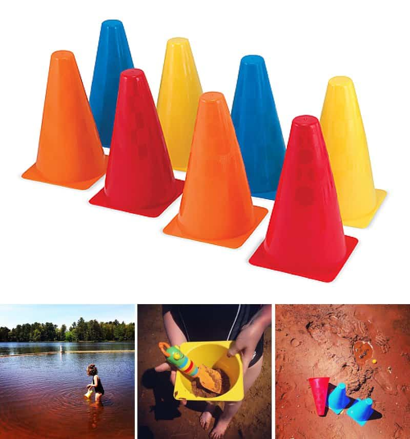 The first few years we camped we packed tons of buckets, shovels, and sand toys for the trip. I literally brought an entire Tupperware container of items to keep the kids entertained at the water. I slowly realized the only toy we need to pack was… a set of Melissa & Doug Activity Cones.