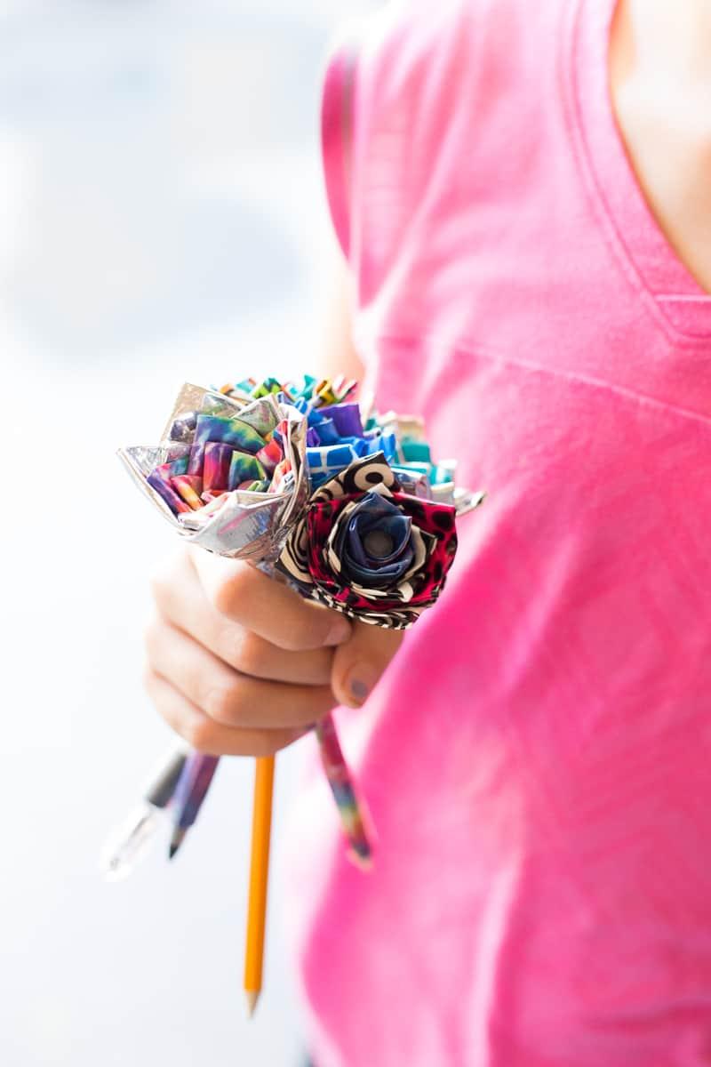 Diy Duct Tape Flower Pens An Easy Video Tutorial For Kids