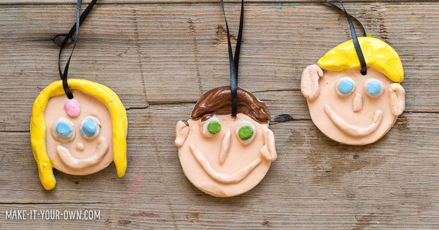 Clay Family Portrait Ornaments (Made without a kiln!)
