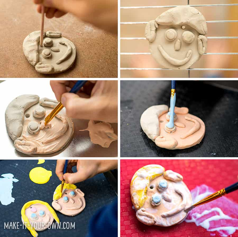 Clay Family Portrait Ornaments (Make without a kiln!)