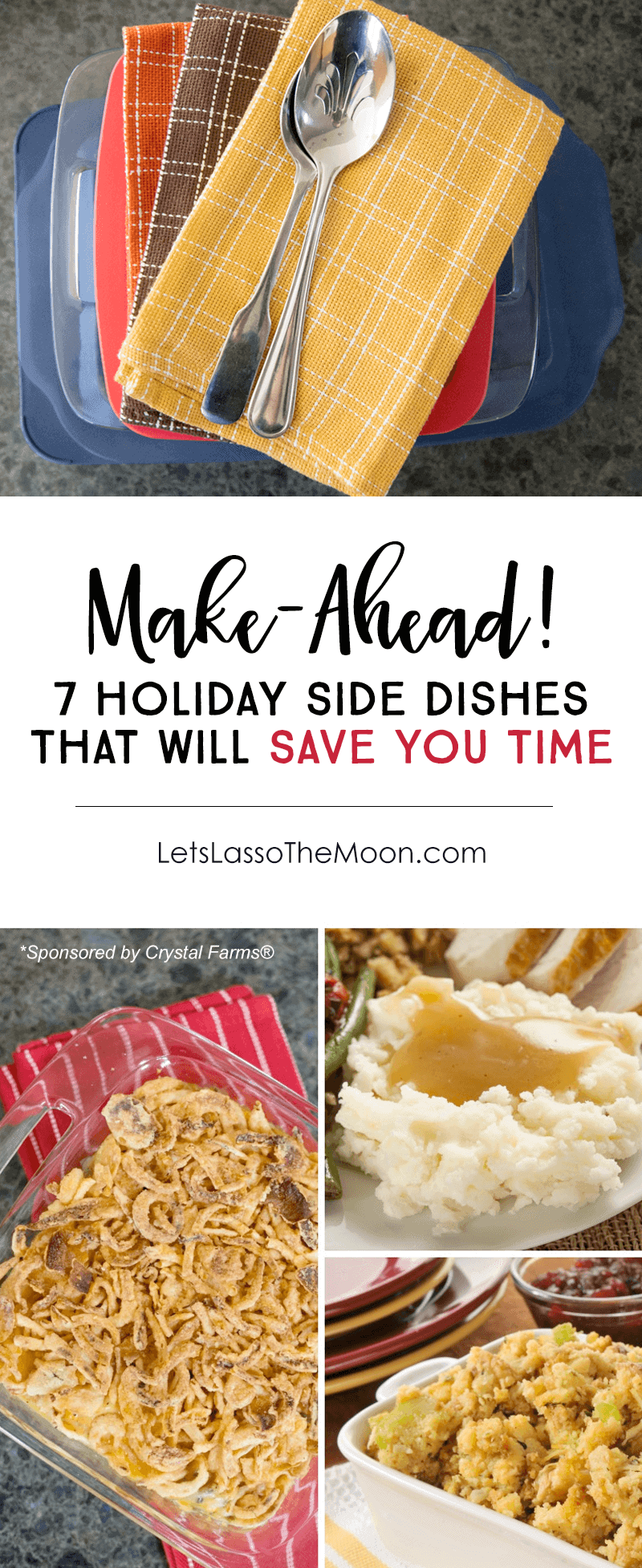 7 Make-Ahead Holiday Side Dishes to Save You Time in the Kitchen *Great list for holiday meal planning. Cheesy Green Bean Casserole is my fav!