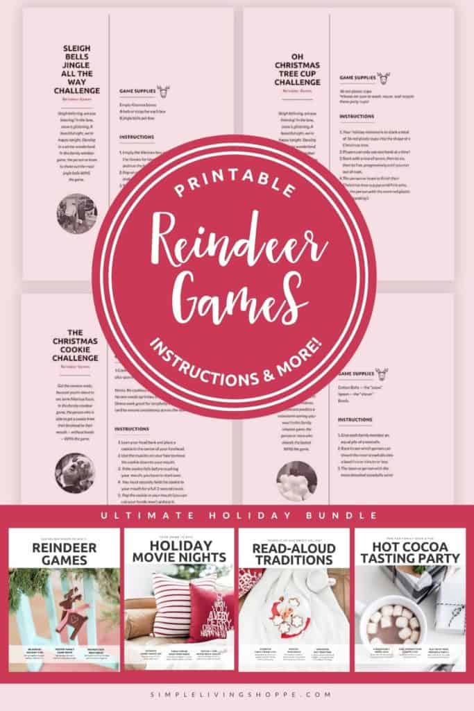"A collge of family Christmas game instructions with a headline over top reading, ""Reindeer Games Instructions."""