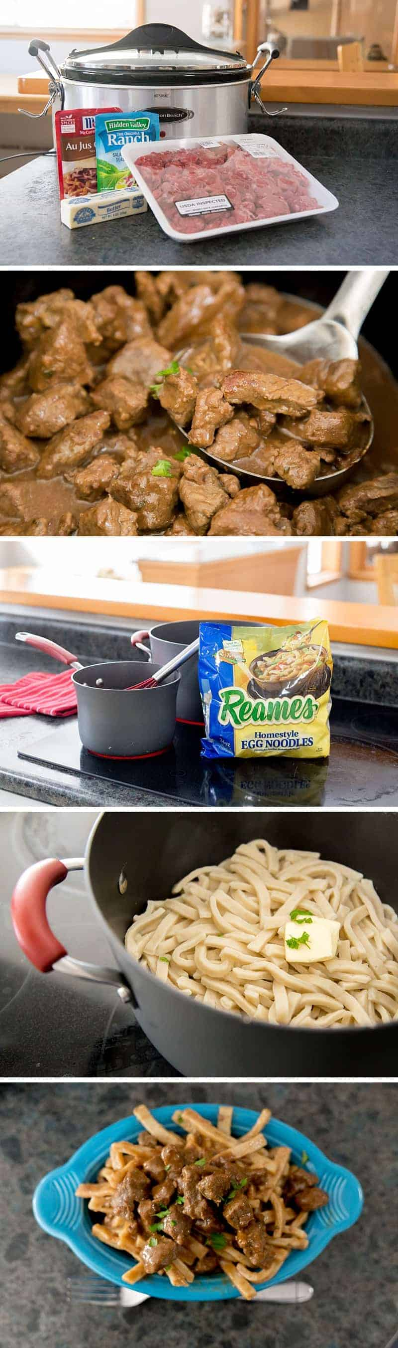 The flavorful Slow Cooker Beef Stew is a super easy weekday dinner recipe, but is also perfect for a family get together. This classic crock pot recipe is transformed with a few unexpected ingredients (Hint: it is not what you expect). Served with frozen egg noodles, it is the perfect winter meal. Comfort in a bowl. *My family REALLY liked this one!