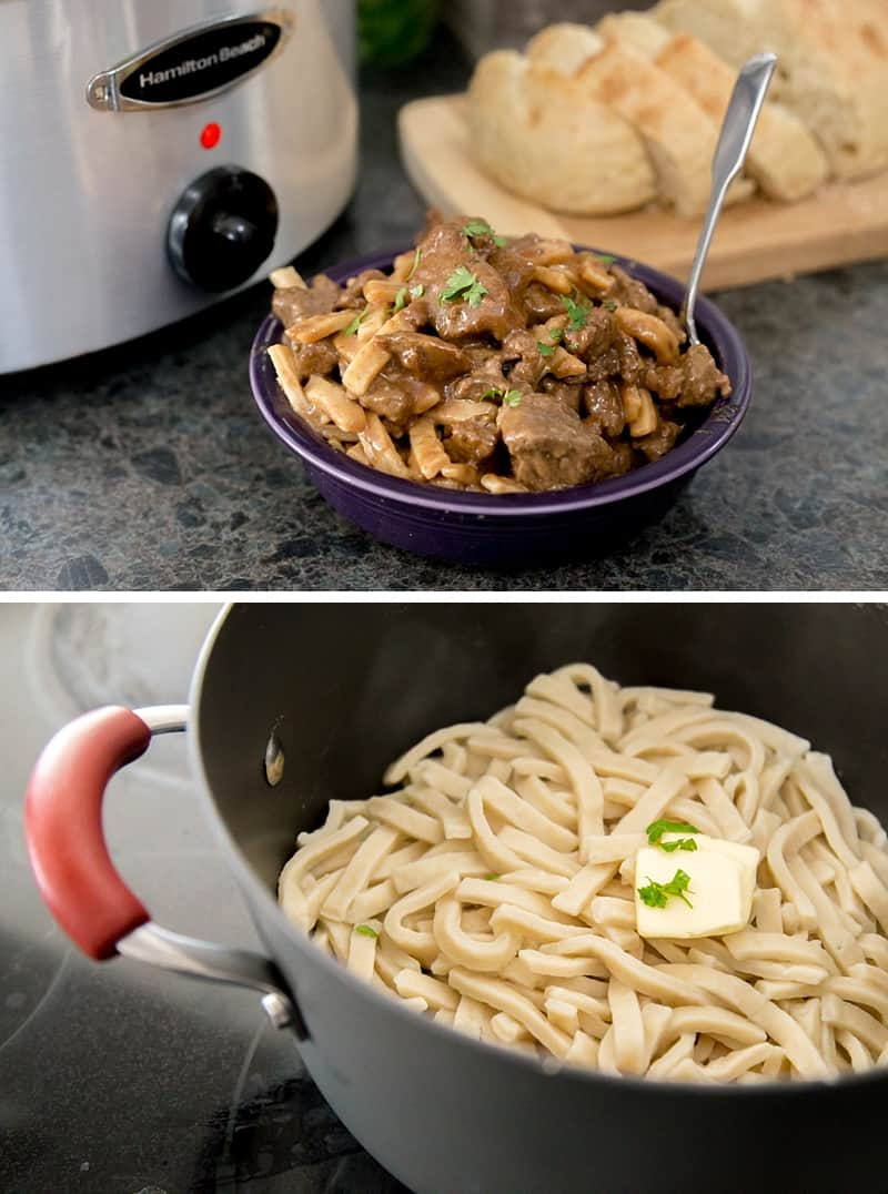 The flavorful Slow Cooker Beef Stew is a super easy weekday dinner recipe, but is also perfect for a family get together. This classic crock pot recipe is transformed with a few unexpected ingredients (Hint: it is not what you expect). Served with frozen egg noodles, it is the perfect winter meal. Comfort on a plate. *My family REALLY liked this one!