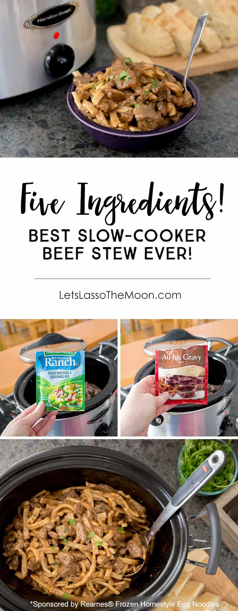 The flavorful Slow Cooker Beef Stew is a super easy weekday dinner recipe, but is also perfect for a family get together. This classic crock pot recipe is transformed with a few unexpected ingredients (Hint: it is not what you expect). Served with frozen egg noodles, it is the perfect winter meal. Comfort in a bowl. *My family REALLY liked this one! Plus, I love that it hardly requires any chopping.