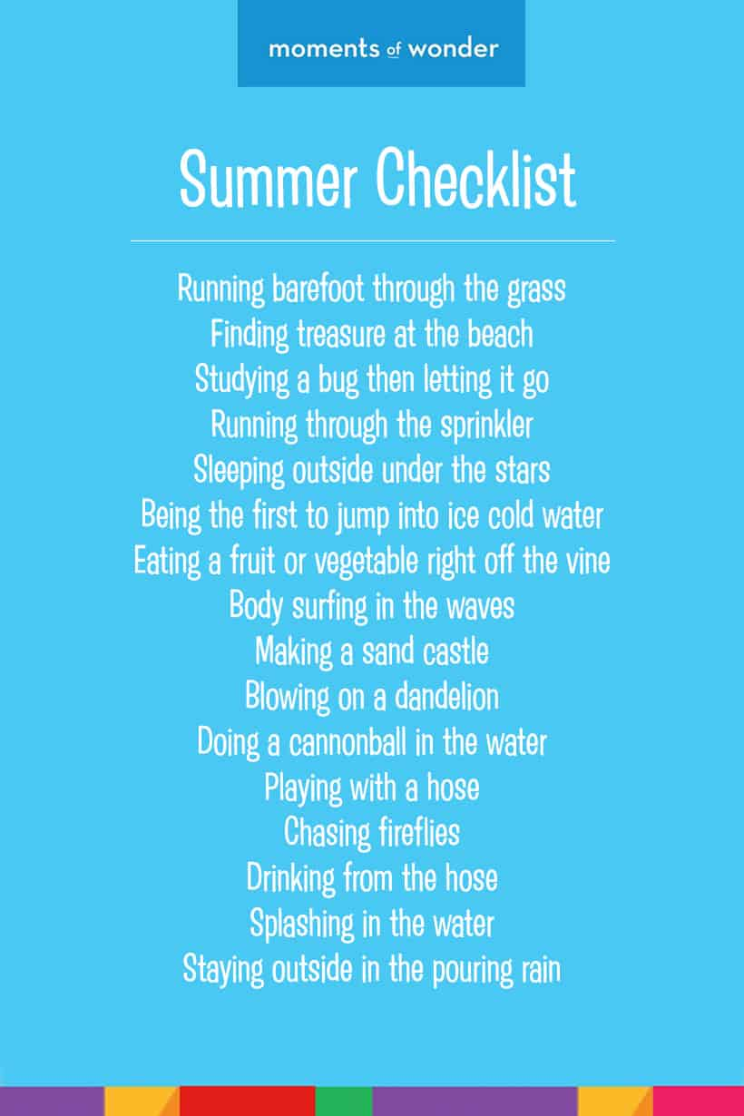 Moments of Wonder // Summer Checklist for Children - Classic fun for families *love this kids summer list!