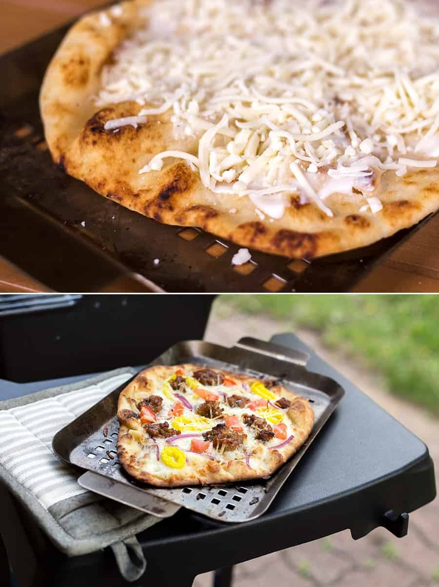 Grilled Pizza 101: This Simple Grilled Pizza Hack is Insanely Delicious *Love this easy Alfredo pizza idea. My husband loves this banana pepper, tomato, Italian sausage and red onion combo.