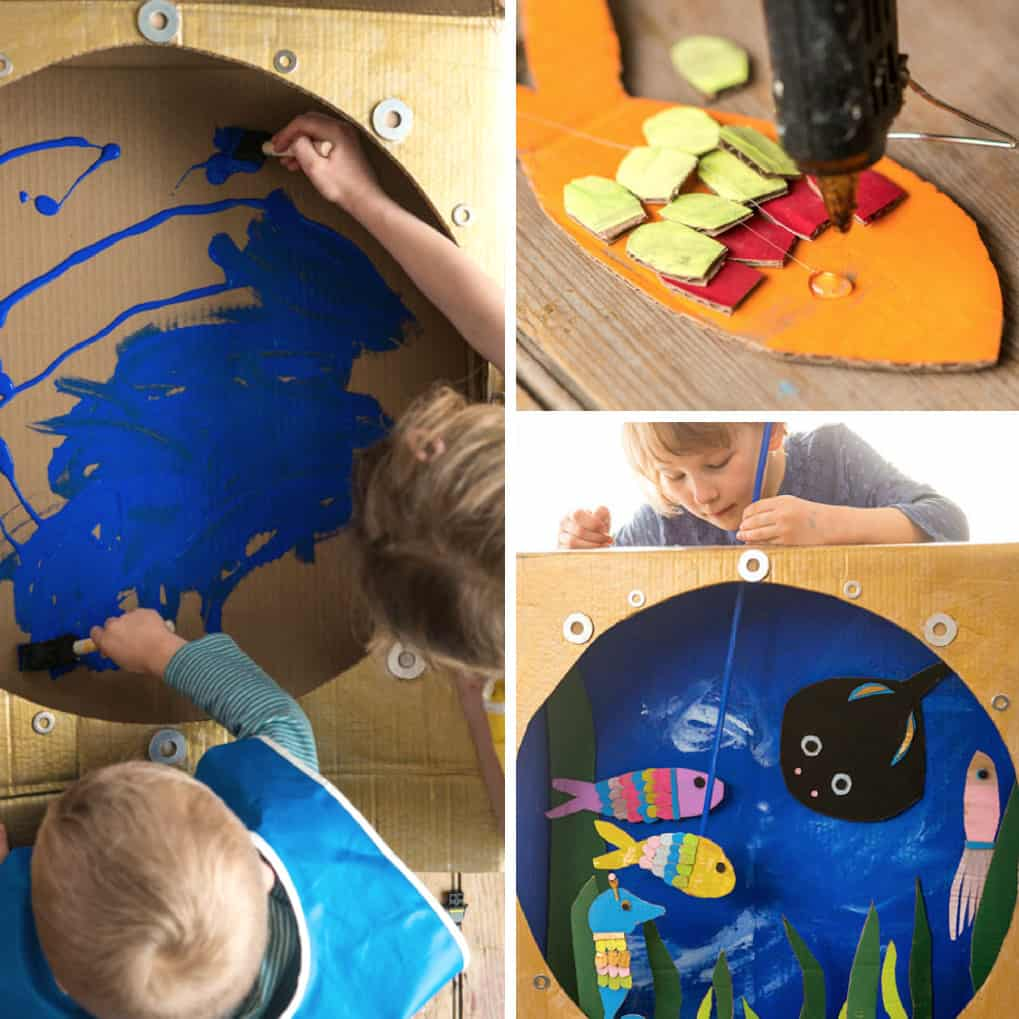 Upcylced Cardboard Theater - This art project for kids is SO COOL.