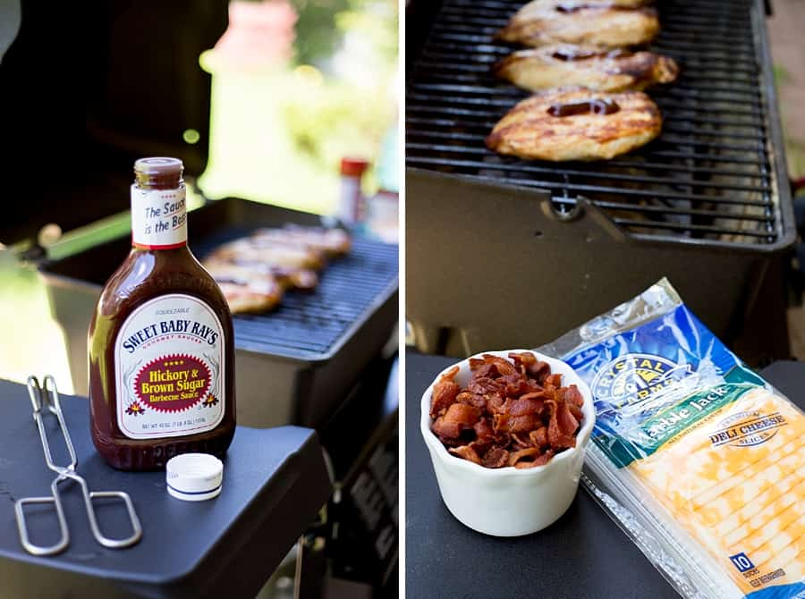 This easy-cheesy grilled Monterey Chicken recipe is THE BEST. BBQ sauce, cheese, and bacon make it a must-try summer cookout staple. *My kids and husband love this!