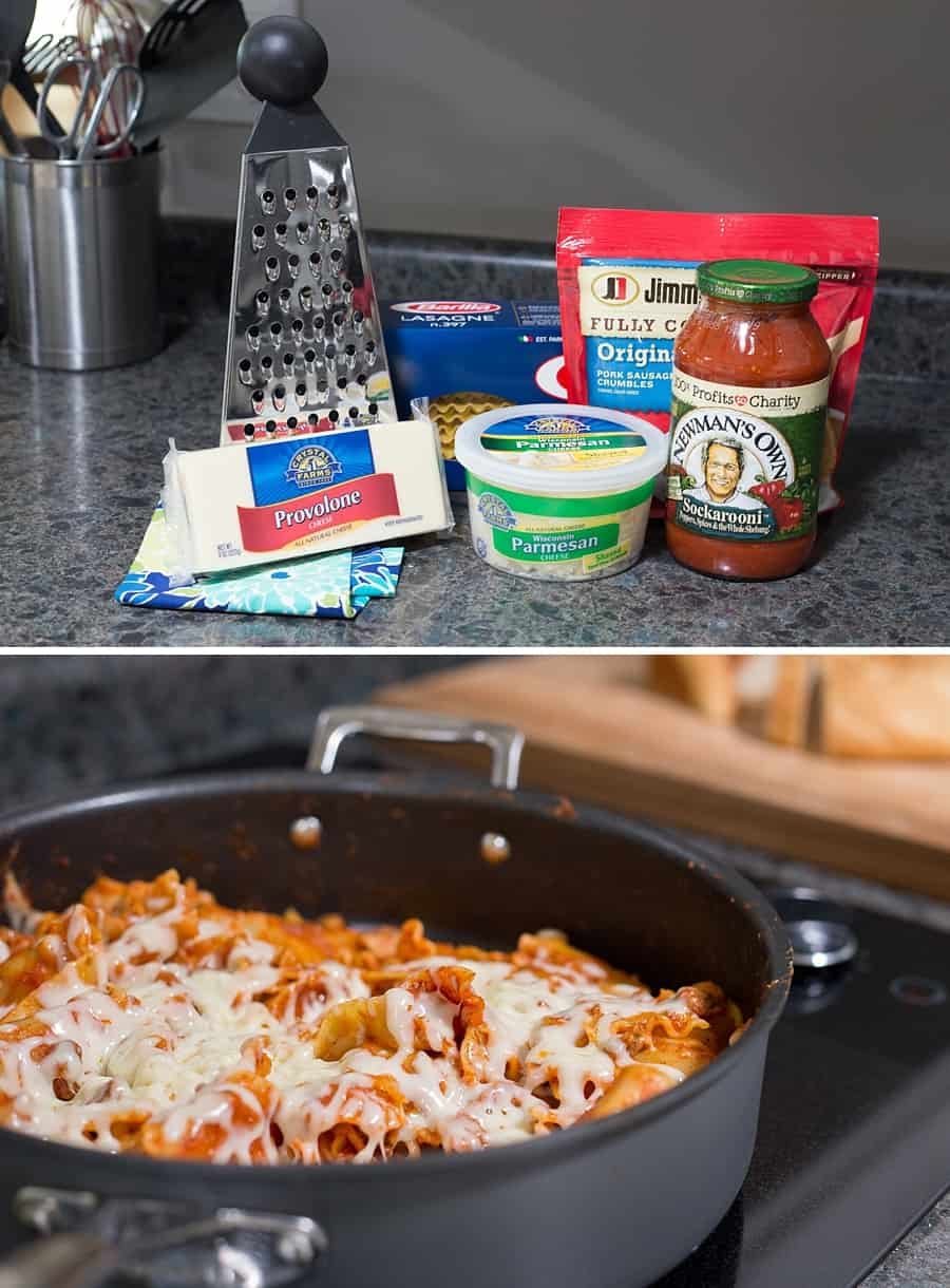 This 20-minute Cheesy Skillet Lasagna Recipe is simple to make on the stovetop. It has only three ingredients and you can make supper in one pot. *This is perfect for a fast weeknight dinner. My family loves easy Italian food!