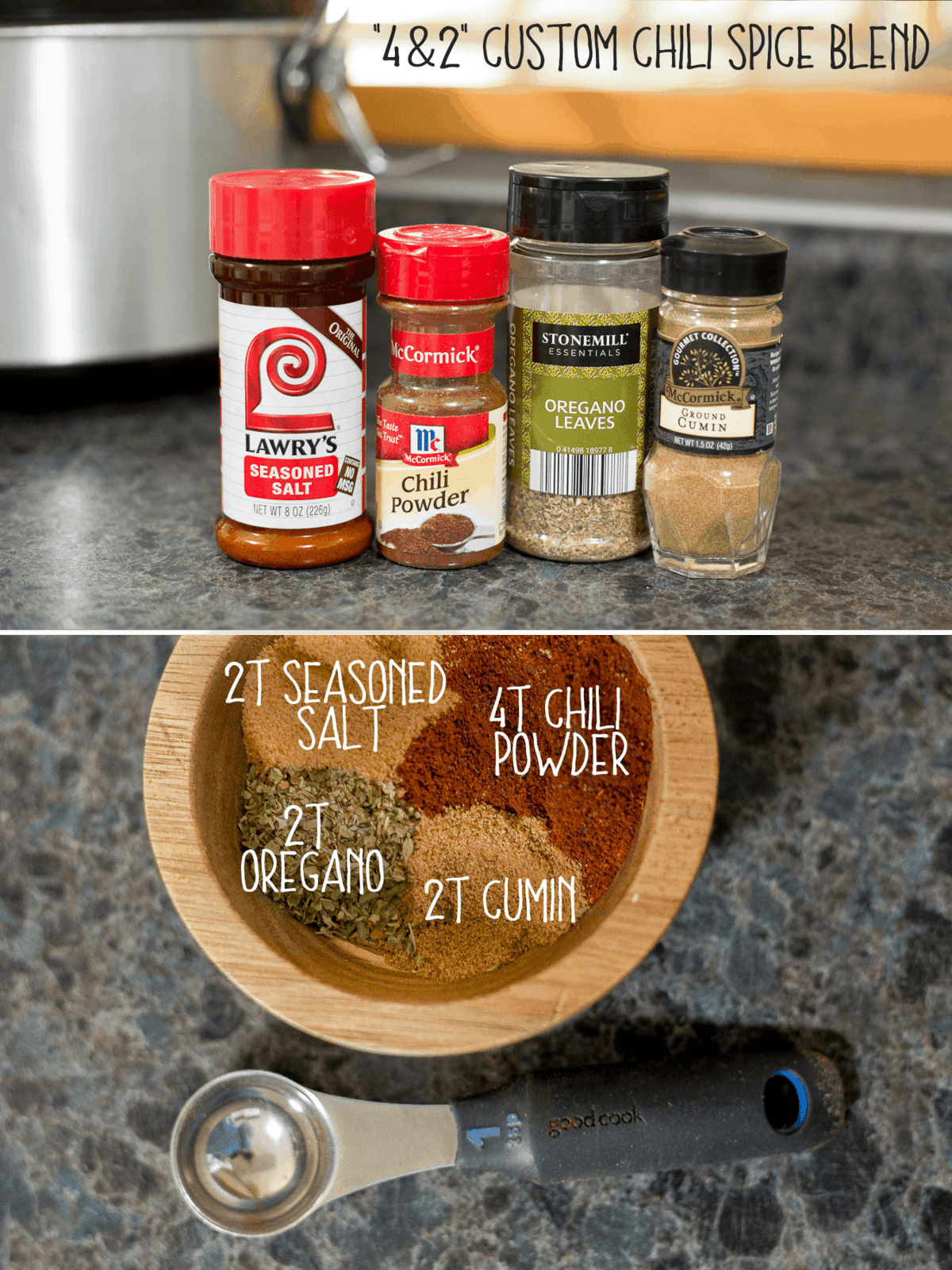 Most delicious and EASIEST chili blend recipe EVER. Most of the ingredients you've already likely got in your cabinet! The seasoned salt takes care of a whole collection of common ingredients in most chili blends (salt, paprika, sugar, etc). The measurements are so simple, you don't even need to print the recipe. *Love this simple recipe!