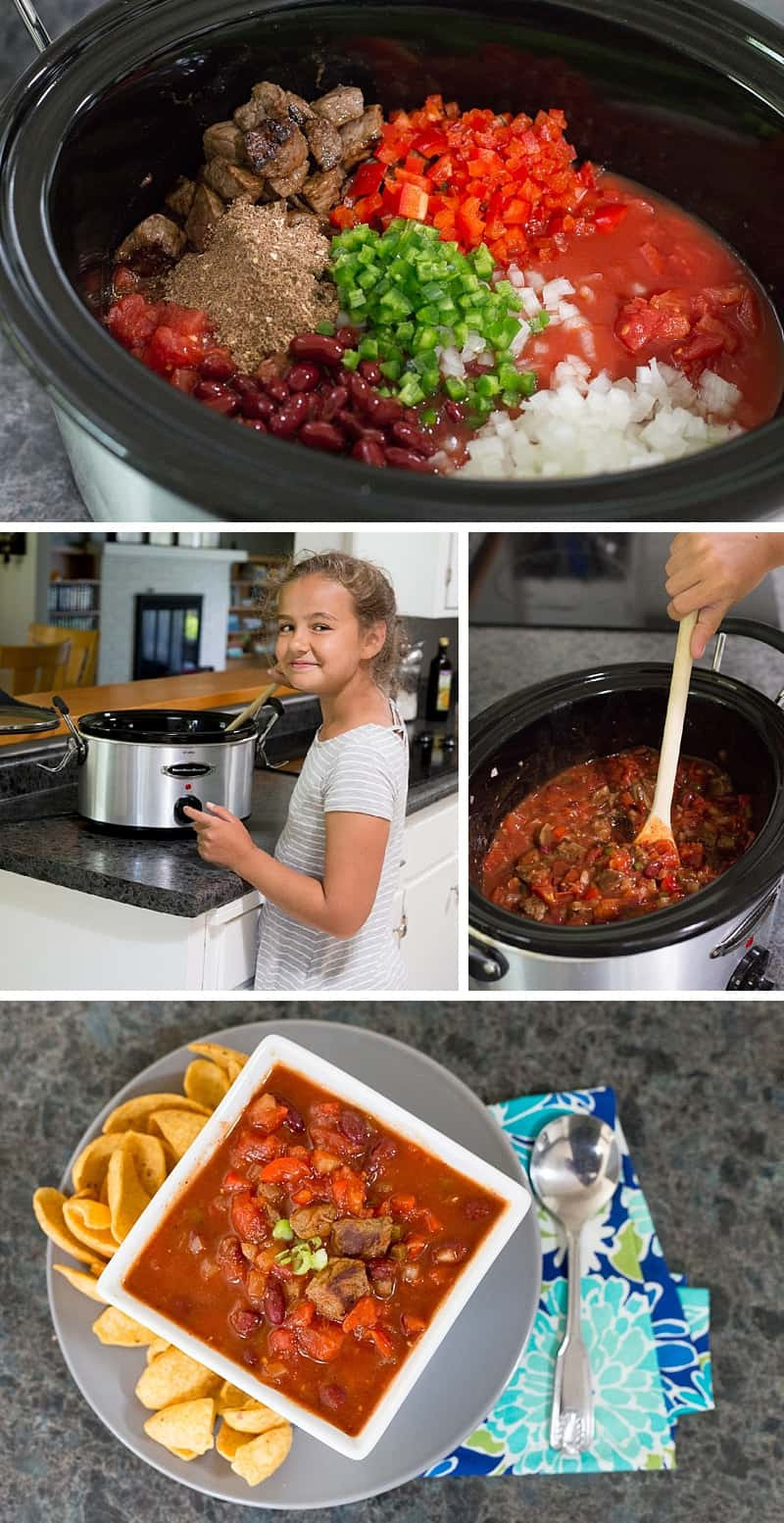 Best chili EVER! Kids will love helping you make this slow cooker recipe. It is so SIMPLE to make. You can use ground beef, steak or go vegetarian. It is perfect for a quiet evening at home or for hosting a family party. Plus you can freeze leftovers for an easy weeknight dinner on a school night. *This is one of my go-to dinners that the whole family loves. Perfect comfort food.