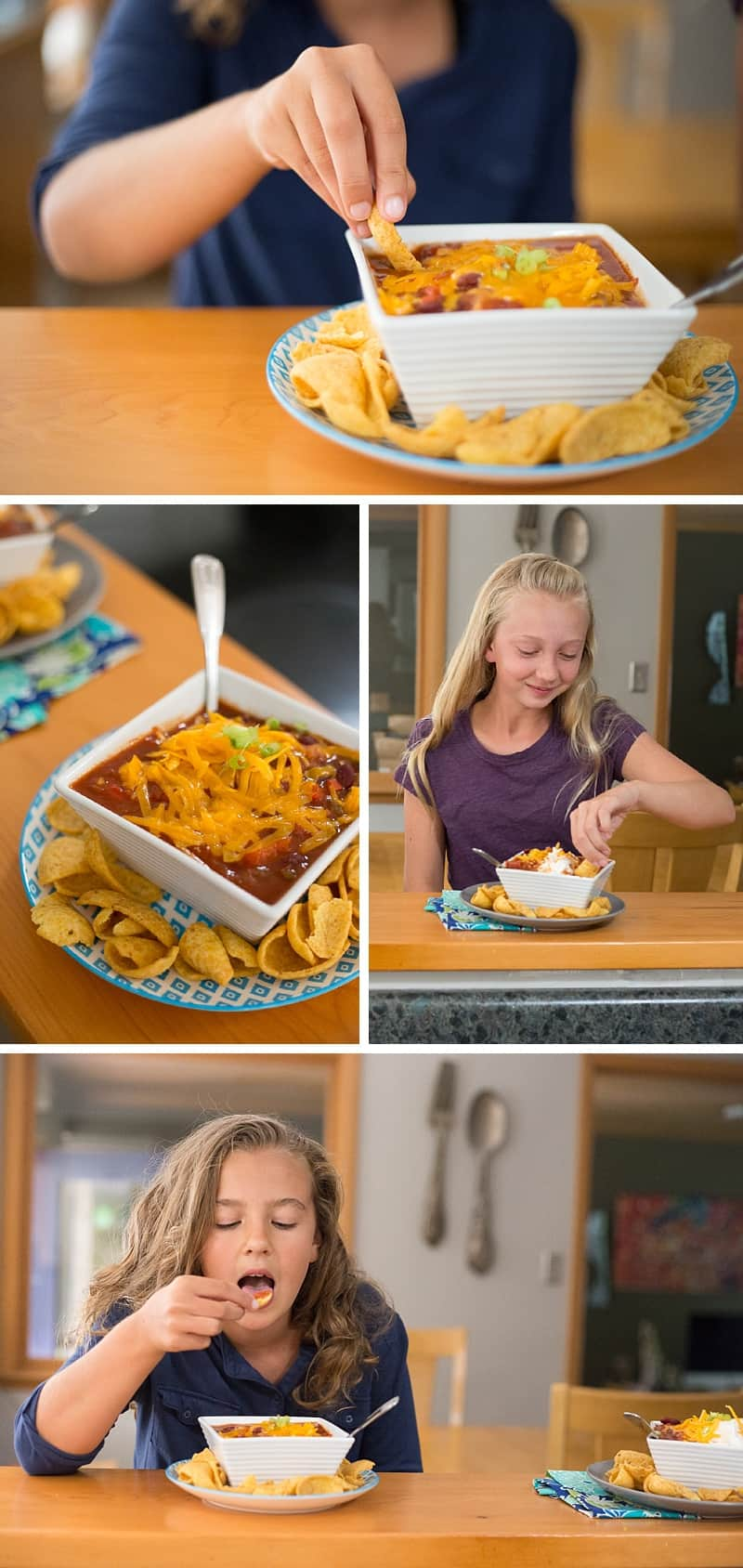 Best chili EVER! This slow cooker recipe is so SIMPLE to make. You can use ground beef, steak or go vegetarian. It is perfect for a quiet evening at home or for hosting a family party. Plus you can freeze leftovers for an easy weeknight dinner on a school night. *This is one of my go-to dinners that the whole family loves. Perfect comfort food. So good with corn chips!