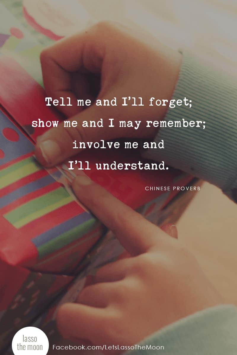 Tell me and I'll forget; show me and I may remember; involve me and I'll understand. *love this post on helping your kids understand the joy of giving.