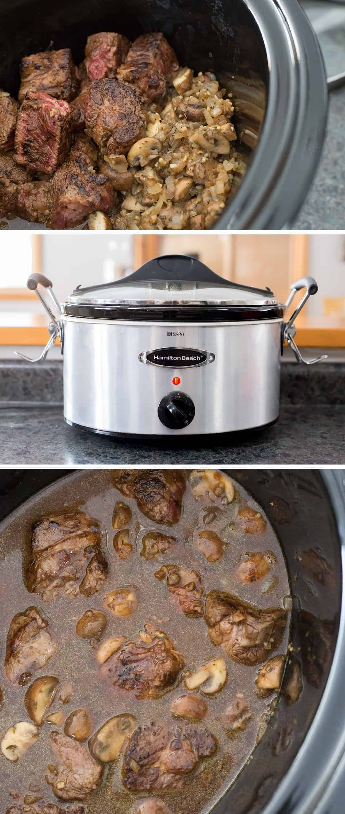 This slow cooker stroganoff is so simple and DELICIOUS, perfect for a chilly day. Just pop it in the crock pot and come home to a delicious family meal. #recipe #homemadegoodness #slowcooker #crockpot *My family loves Beef Stroganoff. These thick egg noodles are the best!