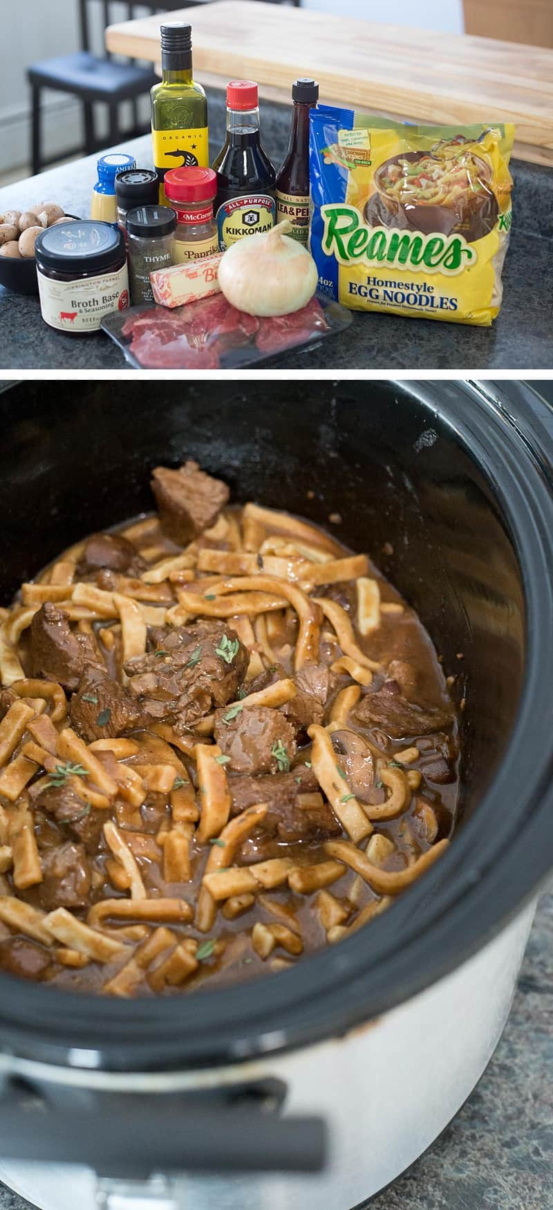 This Slow-Cooker Stroganoff recipe is so simple and DELICIOUS, perfect for a chilly day. Just pop it in the crock pot and come home to a delicious family meal. #recipe #homemadegoodness #slowcooker #crockpot *My family loves Beef Stroganoff. These thick egg noodles are the best!